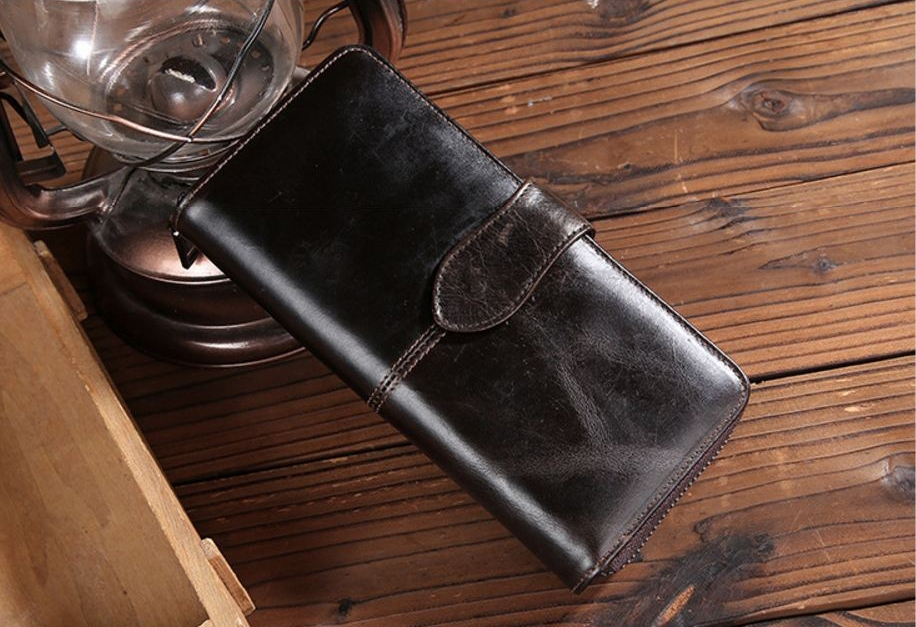 W long Leather Dark Brown