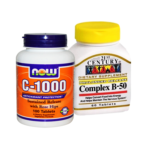 21st Century, B-50 Complex, 60 Tablets + C-1000 100 TABLES เซ็ตคู่เพื่อสุขภาพ