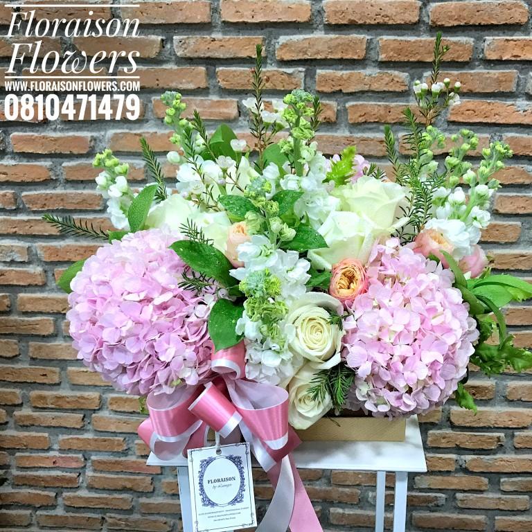 กล่องดอกไม้ ชมพู ขาว เขียว(L)