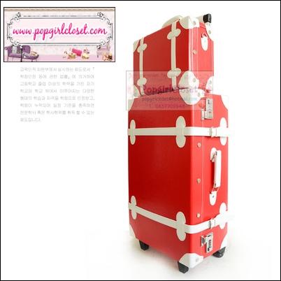 กระเป๋าเดินทางวินเทจสไตล์เกาหลี ดีไซน์ออริจินัล 2 ล้อ คันชักด้านนอก สีแดงคาดขาว หนัง PU มี 3 ไซส์ 20, 22, 24 นิ้ว (Pre-order ราคาแต่ละรุ่นอยู่ด้านในนะคะ)