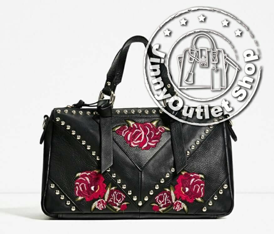 ZARA EMBROIDERED LEATHER BOWLING BAG