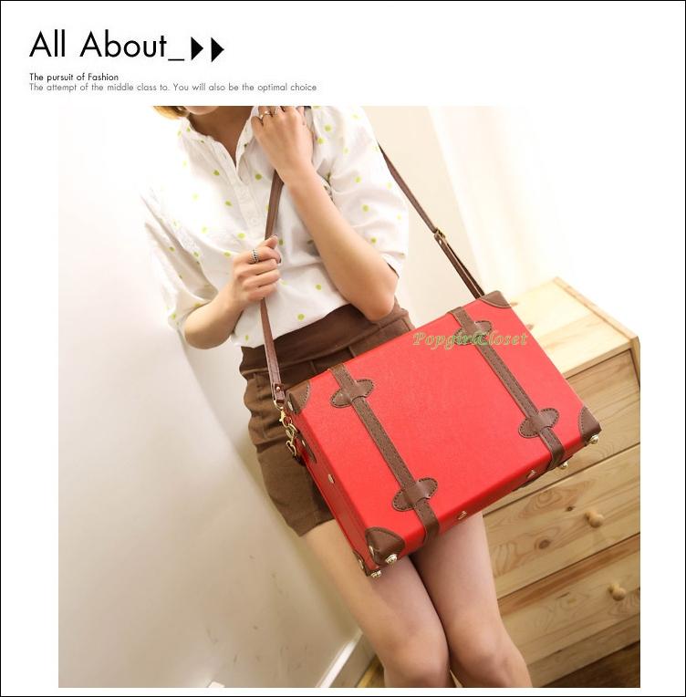 """กระเป๋าสะพายวินเทจสไตล์เกาหลี สีแดงคาดน้ำตาล ไซส์ 12"""" หรือ 14"""" Red / Brown Beauty Bag Vintage Suitcase Korea Style (Pre-order ราคาสินค้าอยู่ด้านใน)"""