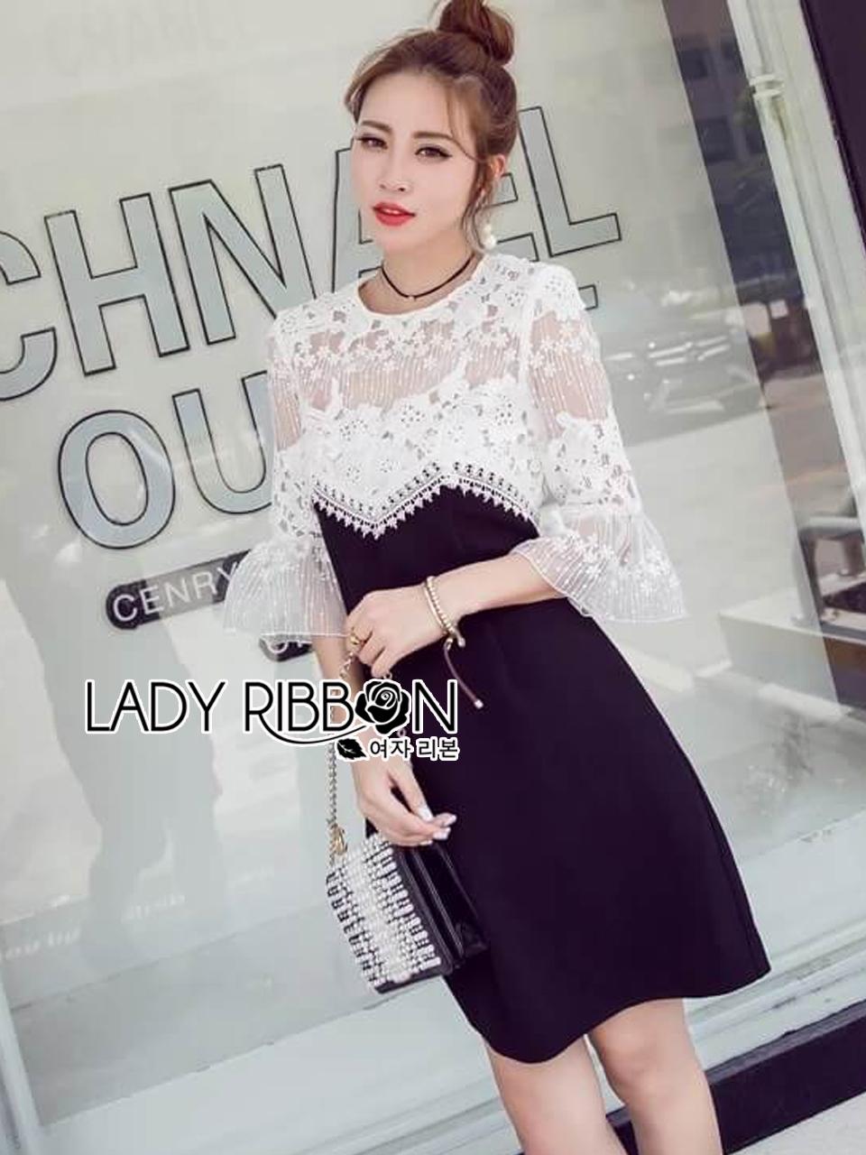 เดรสผ้าลูกไม้สีขาวตกแต่งผ้าดำสุดหรูครึ่งบนเป็นผ้าลูกไม้สีขาวแบบโปร่ง ช่วงกระโปรงสีดำ ใส่ออกงานหรูได้เลยค่ะ มี S M by Lady Ribbon
