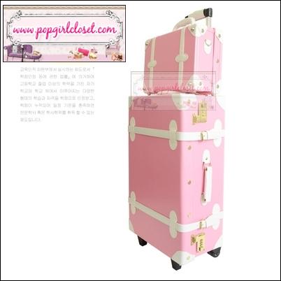 กระเป๋าเดินทางวินเทจสไตล์เกาหลี ดีไซน์ออริจินัล 2 ล้อ คันชักด้านนอก สีชมพูอ่อนคาดขาว หนัง PU มี 3 ไซส์ 20, 22, 24 นิ้ว (Pre-order ราคาแต่ละรุ่นอยู่ด้านในนะคะ)