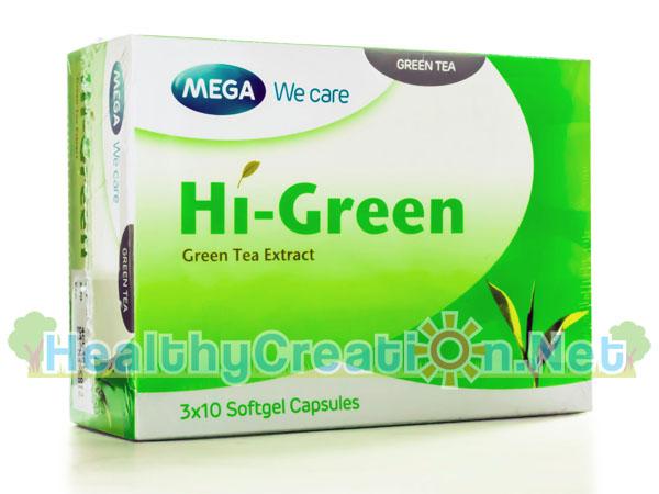 Mega We Care Hi Green เมก้า วีแคร์ ไฮกรีน บรรจุ 30 แคปซูล [3 กล่อง แถมฟรี Mega CLA Advance] ยับยั้งขบวนการย่อยไขมัน กระตุ้นการเผาผลาญพลังงานและไขมัน