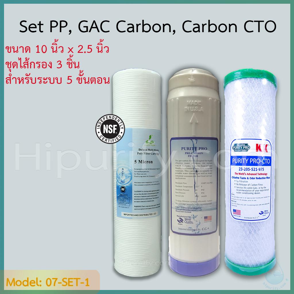 ชุดไส้กรองน้ำ 3 ขั้นตอน เซตประหยัด PP,Carbon GAC,Carbon CTO