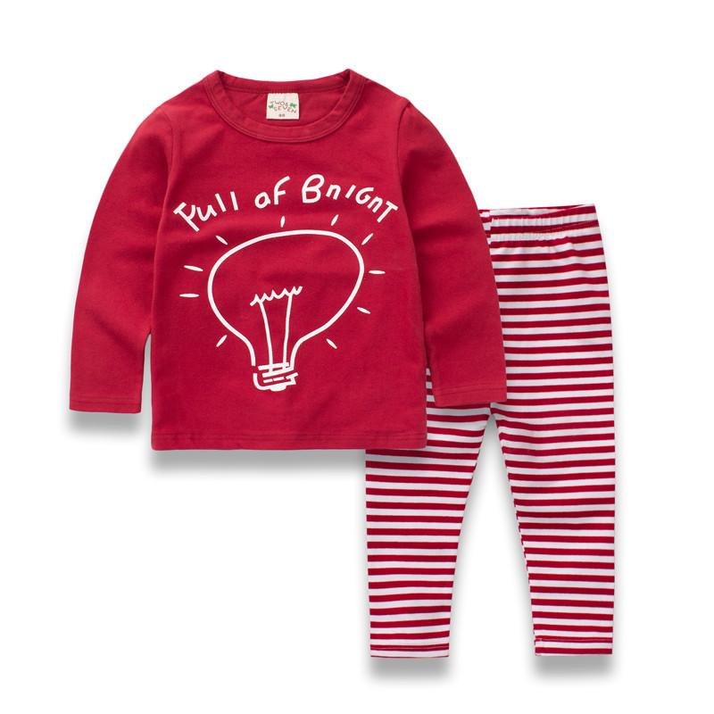 W091 : Set 2 ชิ้น เสื้อแขนยาวสีแดงพิมพ์ลาย + กางเกงขายาว