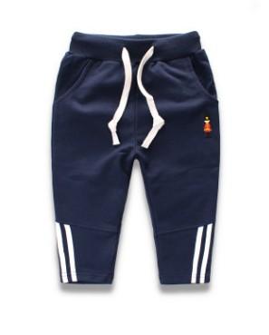 W049 : กางเกงขายาวสีกรมท่าแต่งลายช่วงปลายขา