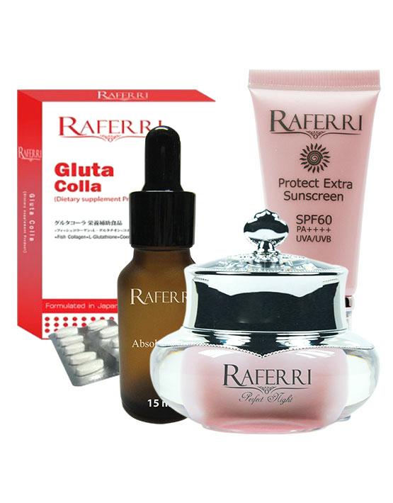 Set S1 Full Set Raferri ซีรั่ม +Raferri ไนท์ครีม+Raferri กันแดด+Raferri Gluta Colla ราคาพิเศษสุด