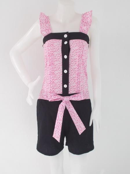 1002221 ขายส่งเสื้อผ้าแฟชั่นชุดเดรสกางเกงลายดอกไม้ เอวยืดได้ ผ้าเนื้อดีมากค่ะ รอบอก 34 นิ้ว
