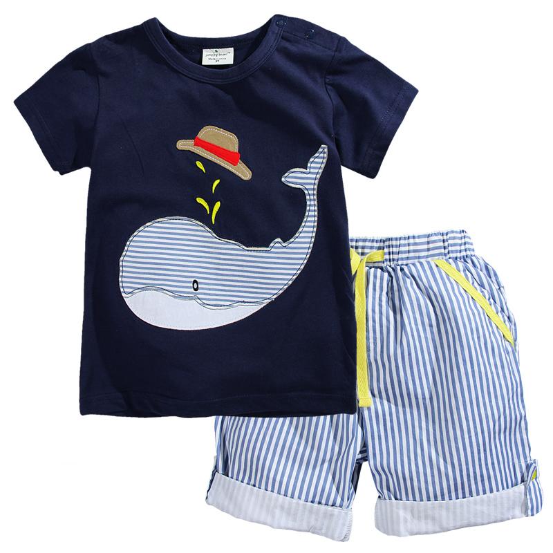 W037 : Set 2 ชิ้น เสื้อแขนสั้นสีกรมท่าปักลายปลาวาฬ + กางเกงขาสี่ส่วนลายทาง