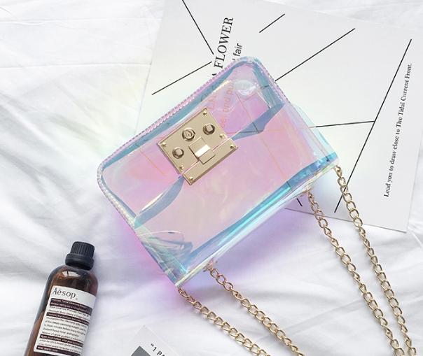 กระเป๋าสะพายข้างผู้หญิง Jelly Rainbow 01 หนังใสประกายรุ้ง