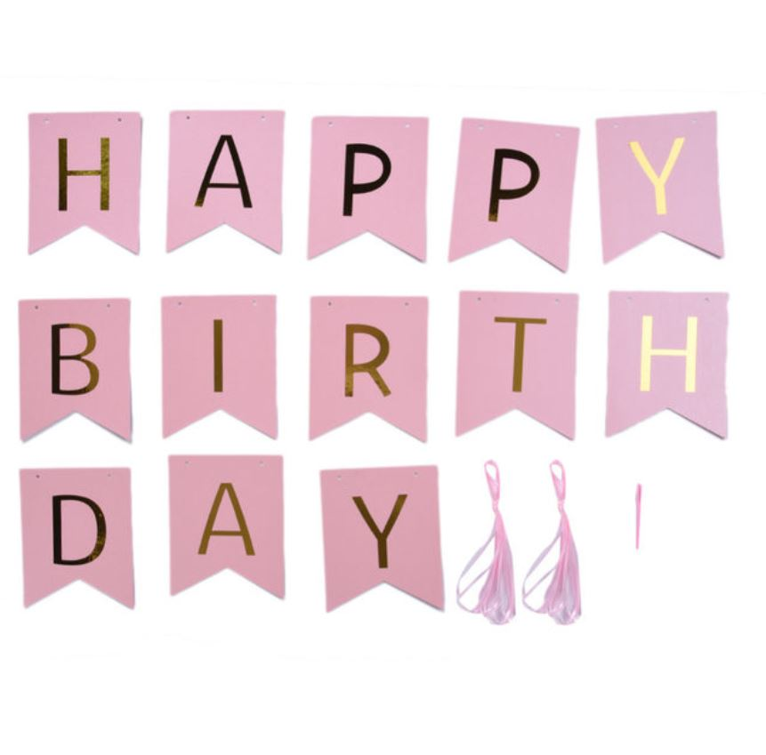 HAPPY BIRTHDAY Flag (Pink)