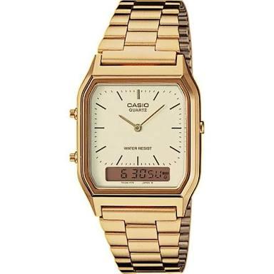 นาฬิกา CASIO ดิจิตอล สีทอง 2 ระบบ สตอเบอรี่ชีสเค้ก รุ่น AQ-230GA-9D STANDARD ANALOG DIGITAL RETRO CLASSIC ของแท้ รับประกันศูนย์ 1 ปี