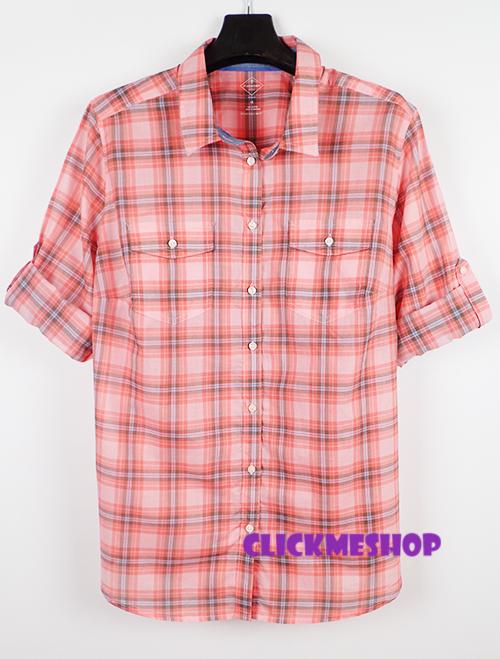 (ไซส์ 1X หน้าอก 44-46 ยาว 27 นิ้ว )เสื้อเชิ๊ตลายสก็อต สีชมพูลายสก็อต ยี่ห้อ. st john มีกระเป๋าที่อกเสื้อสองข้าง กระดุมยาวผ้านิ่มน่ารักอินเทรนด์คะ