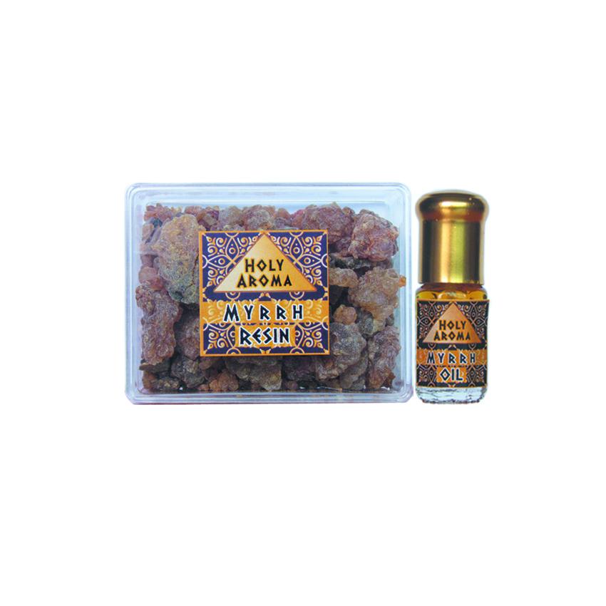 เม็ดมดยอบ เรซิ่น อโรม่า Myrrh Resin Gum Tear แท้ 100% 50g + น้ำมันมดยอบ อโรม่า Myrrh Oil แท้ 100% 3 ml.