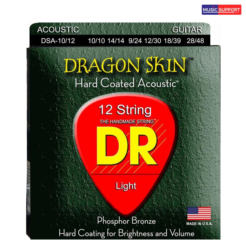 สายกีต้าร์โปร่งเคลือบ DR DSA-10/12 DRAGON SKIN Clear Coated