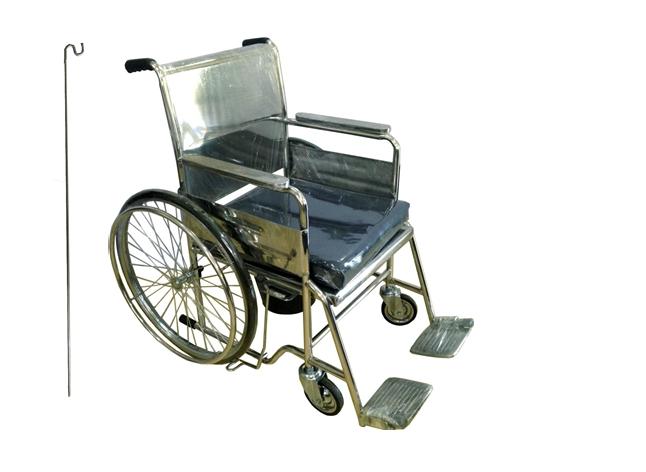 """PS97 / PS98 รถเข็นนั่งถ่ายสแตนเลส ล้อ 24"""" (พับไม่ได้) พร้อมเบาะรองนั่งและเสาน้ำเกลือ"""