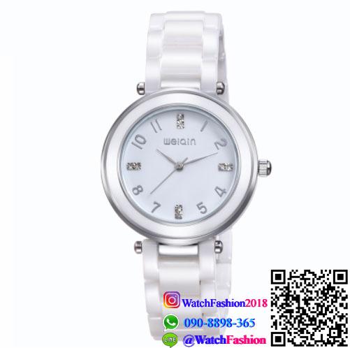 นาฬิกาข้อมือแฟชั่นนำเข้า ผู้หญิง WEIQIN เซรามิก สีขาว กันน้ำ + รับประกัน