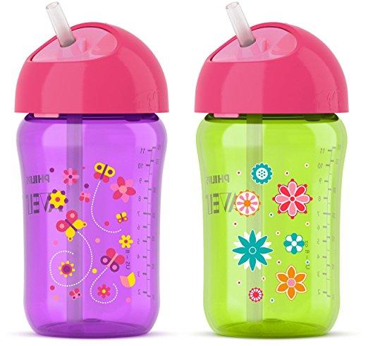 ถ้วยหัดดื่ม แบบหลอด Philips Avent My Twist N Sip Straw Cup, Girls, 2 Pk ขนาด 12 ออนซ์ สีม่วง เขียว แพคคู่