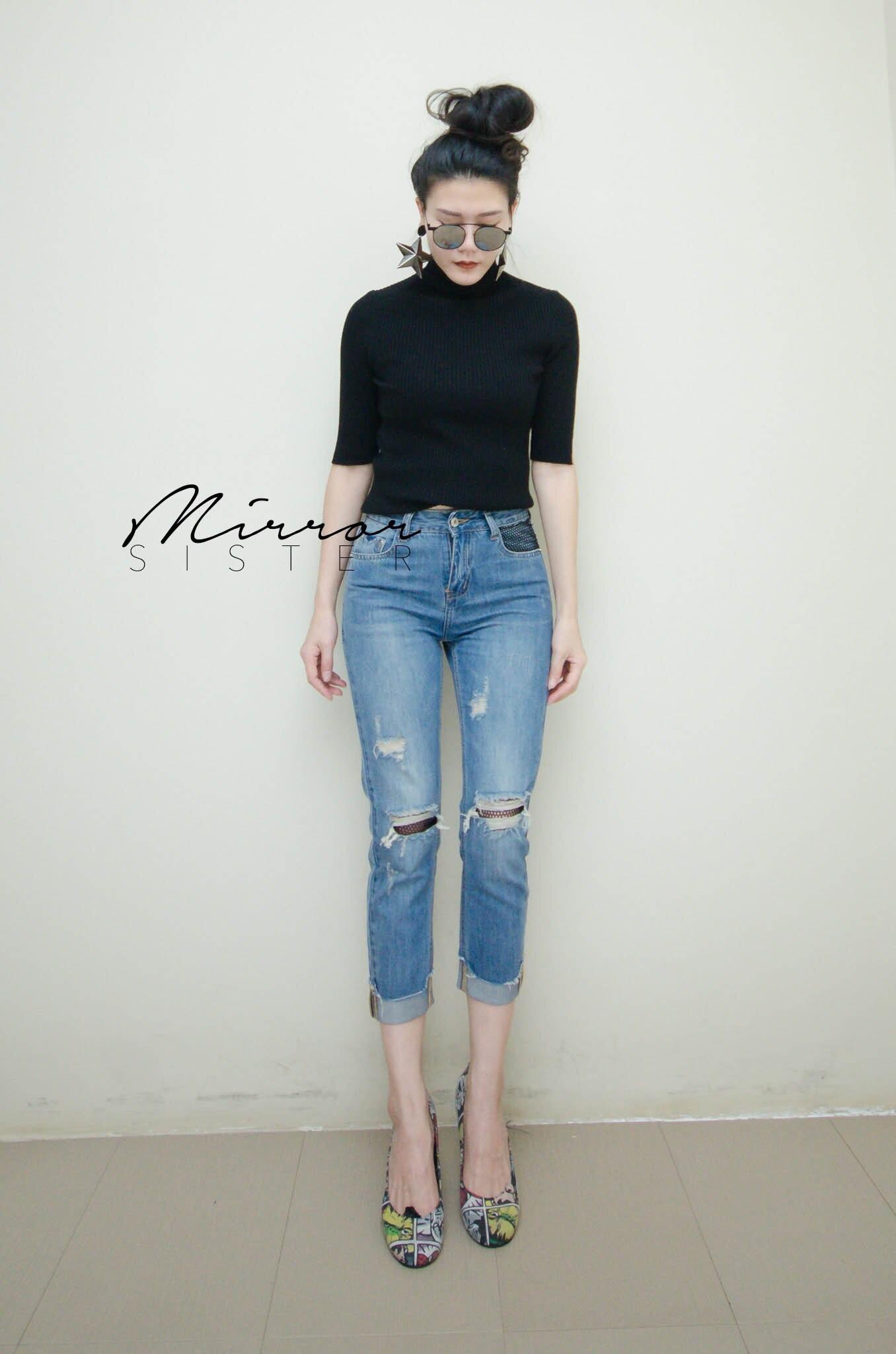 กางเกงยีนส์แฟชั่นขา7ส่วน ทรงสวยแซ่บ ฟอกสี