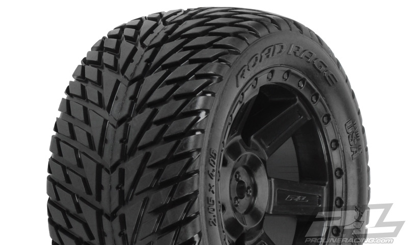 "Road Rage 2.8"" (Traxxas® Style Bead) Street Truck Tires Mounted for Electric Stampede/Rustler 2WD Rear. Mounted on Desperado Black Rear Wheels"