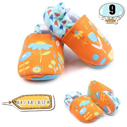 รองเท้าเด็กอ่อน ลายดอกไม้ สีส้ม - Orange flower