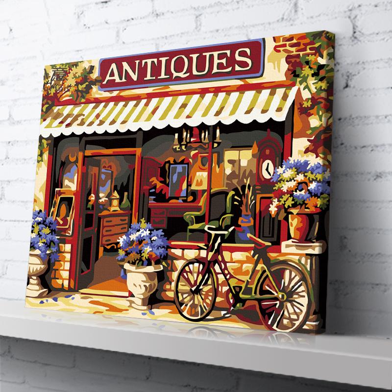 """TG311 ภาพระบายสีตามตัวเลข """"จักรยานหน้าร้านของเก่า"""""""
