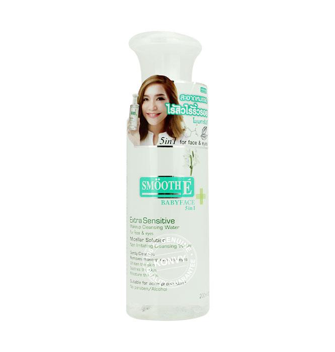 Smooth E Extra Sensitive Makeup Cleansing Water สมูทอี เอ็กซ็ตร้า เซนซิทีฟ เมคอัพ คลีนซิ่ง วอเทอร์ ขวด 200 ml
