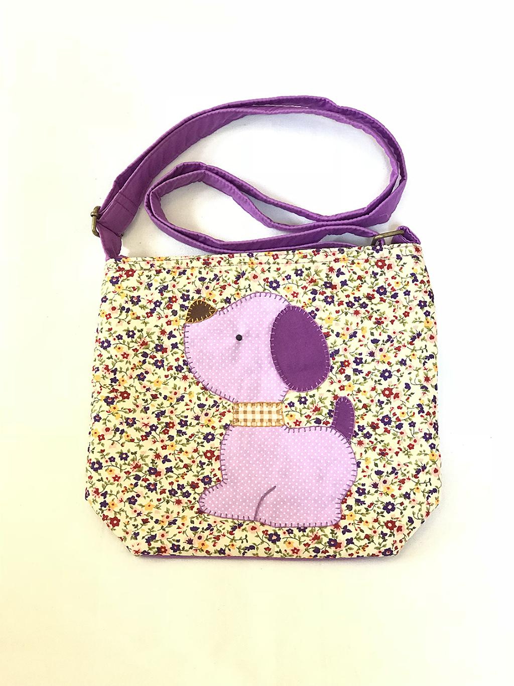 ** พร้อมส่งค่ะ ** กระเป๋าสะพายข้าง ลายหมาน้อย สีม่วง
