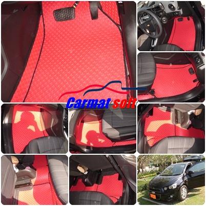 พรมปูพื้นรถยนต์ Chevrolet Sonic ลายกระดุม สีแดง เต็มคัน 17 ชิ้น