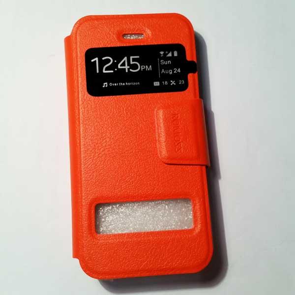 เคสไอโฟน 5/5S/SE ฝาพับรับสาย สีส้ม