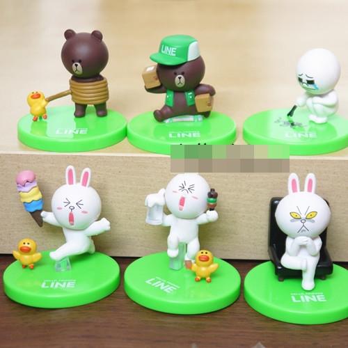 [Preorder] โมเดลตุ๊กตา LINE 1 เซ็ท มี 6 แบบ (Version 1) Japan line app emoticons rabbit doll Nicole Brown Bear can be a lovely ornaments scene 6