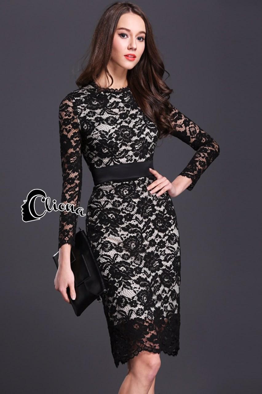 dress. ลูกไม้ดำซับสีเนื้อ แขนยาว