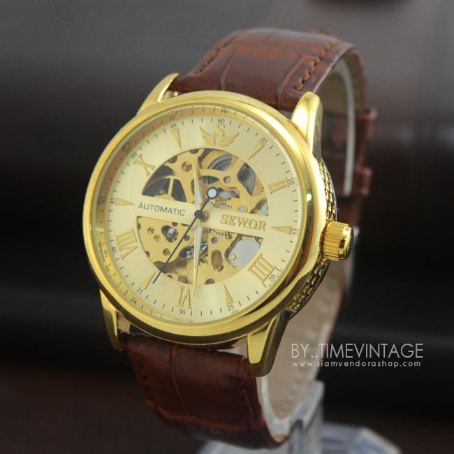 นาฬิกาข้อมือกลไกชายหน้าปัทม์ทองขอบทอง erkek kol saatleri สายน้ำตาลโชว์เครื่องนาฬิกาด้านหลัง (พร้อมส่ง)