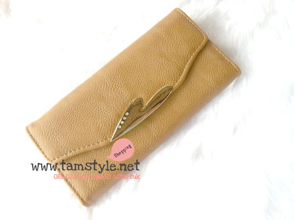 Bag-013 กระเป๋าสตางค์ใบยาว หนัง PUนิ่ม แต่งอะไหล่รูปหัวใจประดับพลอย สีน้ำตาล (กระเป๋าสตางค์พร้อมส่ง)