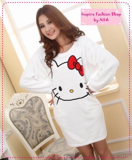 [Preorder] ชุดนอนเดรสกระโปรงแขนยาวแฟชั่น Hello Kitty สีขาว Ms. autumn and winter coral fleece pajamas nightgown new cute hello kitty thick tracksuit