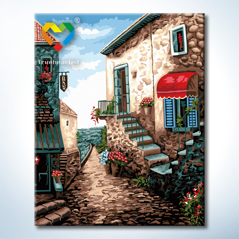 "TG269 ภาพระบายสีตามตัวเลข ""บันไดข้างบ้านดอกไม้แดง"""