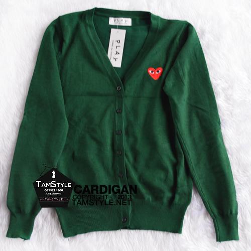 """Coat-109 เสื้อคลุมคาร์ดิแกน สีเขียวขี้ม้า play ผ้าสวยใส่สบาย อก 35"""" ยาว 24"""" (เสื้อคลุมพร้อมส่ง)"""