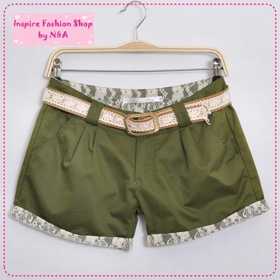 [Preorder] กางเกงขาสั้นประดับลูกไม้สีเขียว พร้อมเข็มขัดเก๋ๆ 2012 new Korean version of sweet lace decorative beading wild fashion leisure shorts / hot pants