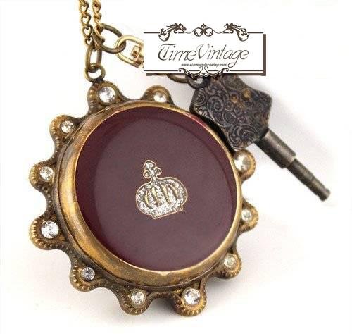 """นาฬิกาพกไขลาน หน้าปัดกลไก ดีไซด์ """"Vintage Copper Key-Wind"""" (พร้อมส่ง)"""