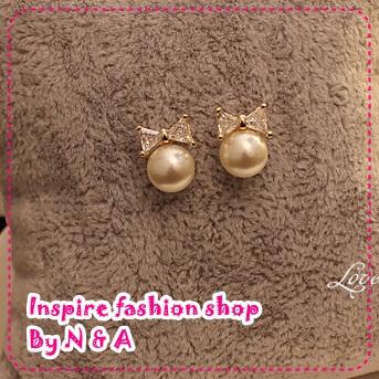 ตุ้มหูโบว์ไข่มุก Love decorated discipline cute bow and pearl earrings Korean Korean women earrings jewelry