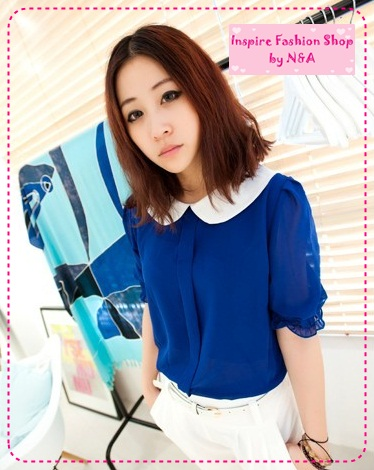 [Preorder] เสื้อแฟชั่นแขนสามส่วนตุ๊กตาสีน้ำเงิน beautiful recommend to hit color doll button chiffon shirt collar open