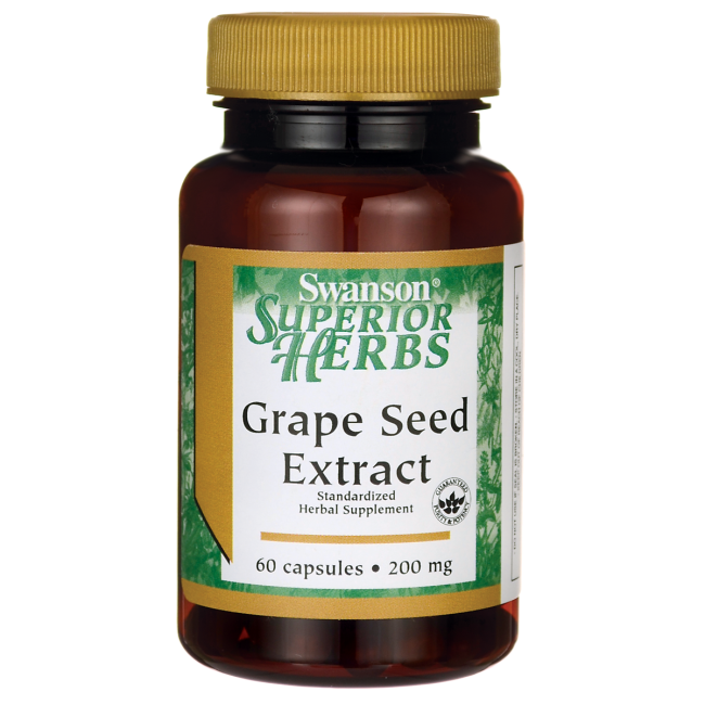 Swanson Superior Herbs Grape Seed Extract (Standardized) 200 mg / 60 Caps