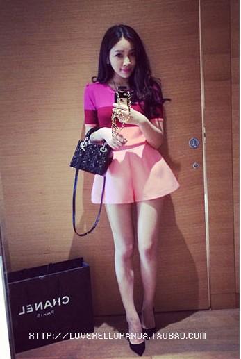 กางเกงขาบานสั้นสีชมพูหวานแหวว