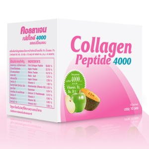 Vistra Collagen Peptide 4000 mg. กล่องบรรจุ 10 ซอง รสแอปเปิ้ลผสมเมล่อน