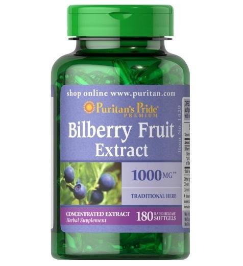 Puritan's Pride Bilberry 1000 mg / 180 Softgels