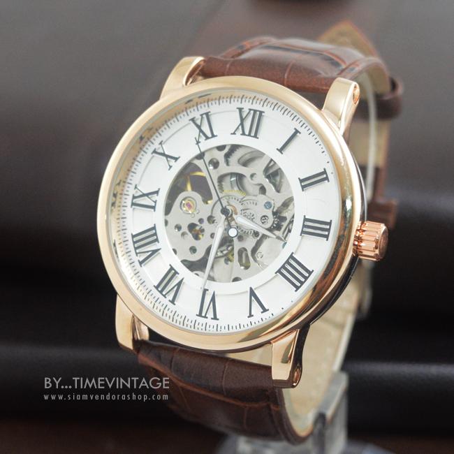 นาฬิกาข้อมือกลไกระบบออโตเมติก โครงสีทอง หน้าปัทม์สีขาว สายน้ำตาลโชว์เครื่องนาฬิกาด้านหลัง (พร้อมส่ง)
