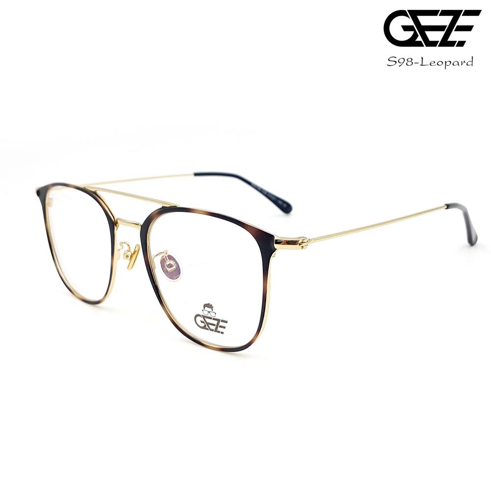 แว่นตาผู้ชาย โลหะ Vintage น้ำหนักเบา ใส่สบาย GEZE รุ่น S98-Leopard อายุการใช้งานยาวนาน ด้วยโลหะพิเศษ