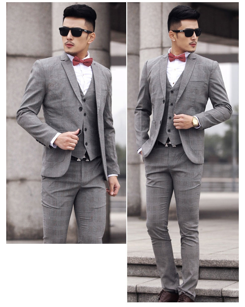 สูท,ชุดสูทชาย แฟชั่นเกรด A สีเทา Size M ( สูท+กั๊ก+กางเกง)